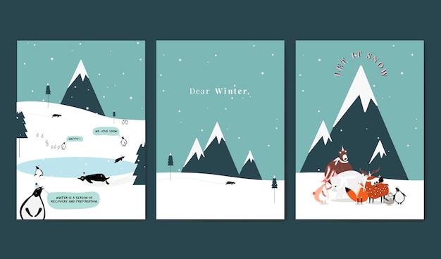 Sammlung des themenorientierten postkartendesignvektors des winters