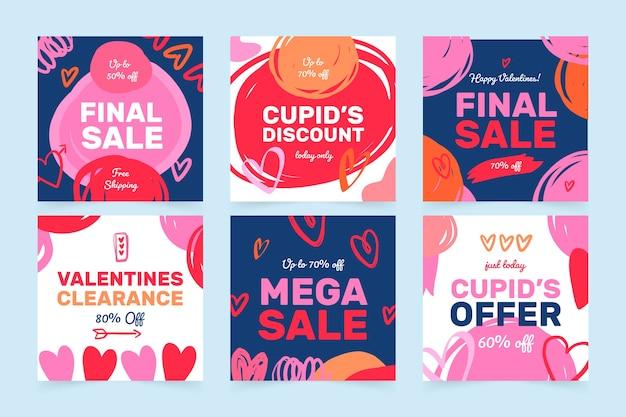 Sammlung des valentinstagverkauf instagram beitrags