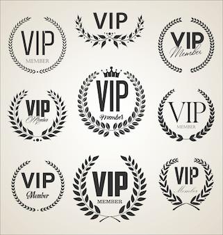 Sammlung des vip-etiketts mit lorbeerkranz-retro-design