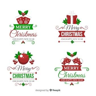 Sammlung des weihnachtsaufklebers im flachen design