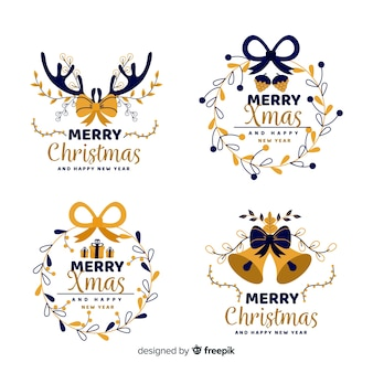 Sammlung des weihnachtsausweises im flachen design