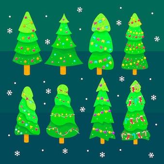 Sammlung des weihnachtsbaums im flachen design