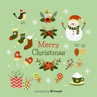 Sammlung des weihnachtselements auf flachem design