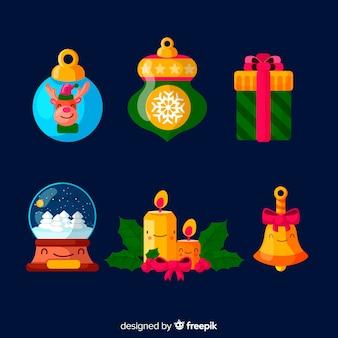 Sammlung des weihnachtselements im flachen design