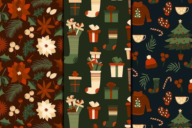 Sammlung des weihnachtsmusters im flachen design