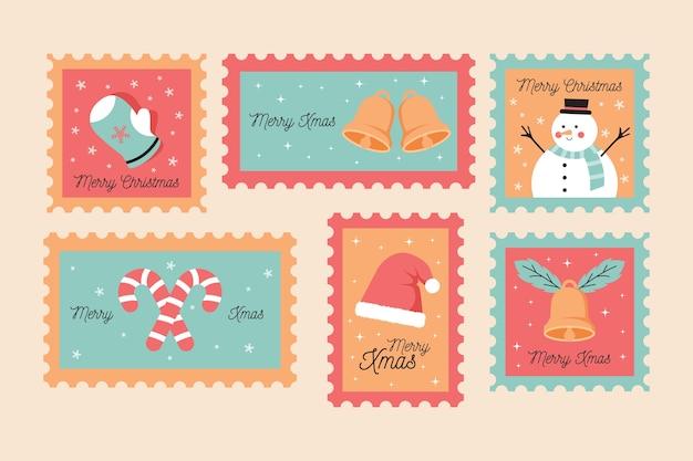 Sammlung des weihnachtsstempels im flachen design