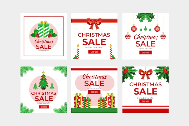 Sammlung des weihnachtsverkauf instagram beitrags