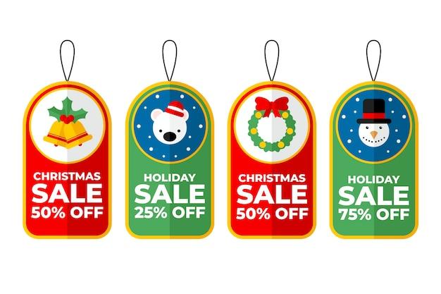 Sammlung des weihnachtsverkaufstags im flachen design