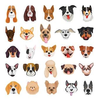 Sammlung detaillierter reinrassiger hunde