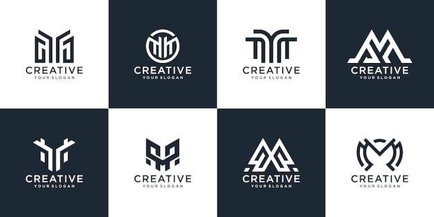 Sammlung, die form des buchstabens w monogramm logo design-vorlage