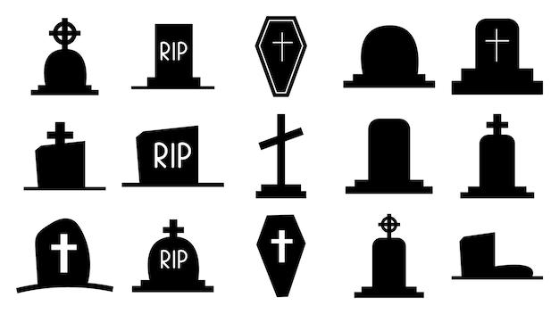 Sammlung dunkler silhouetten von grabsteinen. ikonen von gräbern, denkmäler mit kreuzen. grab mit einem kreuz und grabsteinen. todes- und begräbnissymbol. vektor-illustration isoliert.