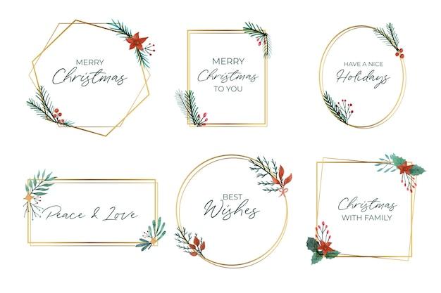 Sammlung eleganter goldener weihnachtsrahmen