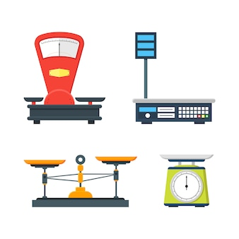 Sammlung elektronischer und mechanischer waagen
