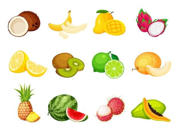 Sammlung exotischer tropischer früchte im trendigen cartoon-stil. veganer lebensmittelvektor isoliert. ganz frisch, halb, scheibe und stück obst schneiden.