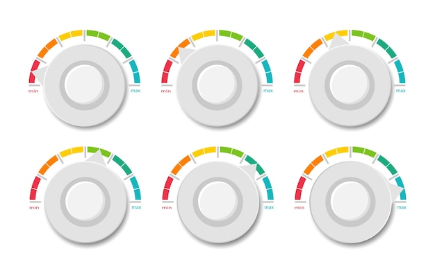Sammlung farbiger tachometer. anzeigeskala.