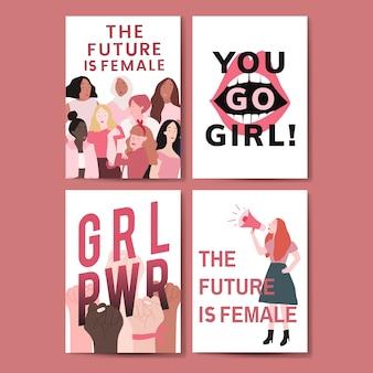 Sammlung feministische mitteilungsplakatvektoren