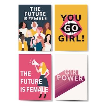 Sammlung feministischer mitteilungsplakatvektoren
