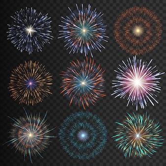 Sammlung festliches feuerwerk in verschiedenen farben auf transparentem schwarzem hintergrund