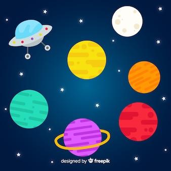Sammlung flache designplaneten