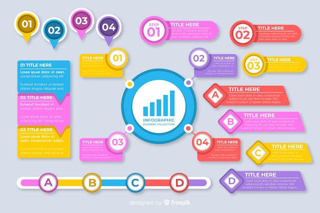 Sammlung flache infographic elemente