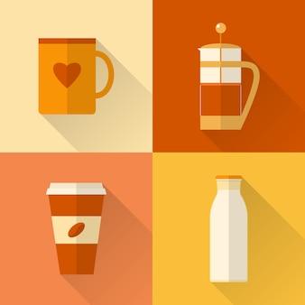 Sammlung flache kaffeeikonen