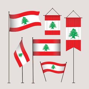 Sammlung flacher libanesischer flaggen