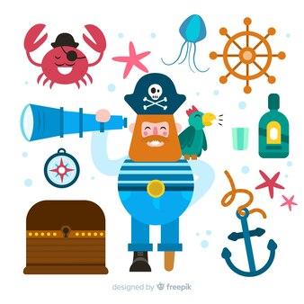 Sammlung flacher marinecharaktere