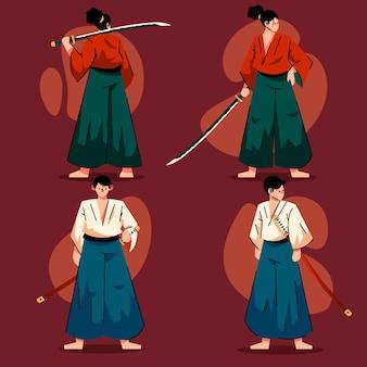 Sammlung flacher samurai-illustrationen
