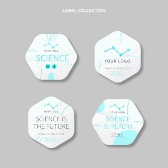 Sammlung flacher wissenschaftsetiketten