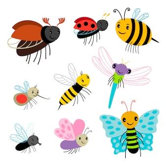 Sammlung fliegender insekten - karikaturbiene, schmetterling, marienkäfer, libelle auf weißem hintergrund