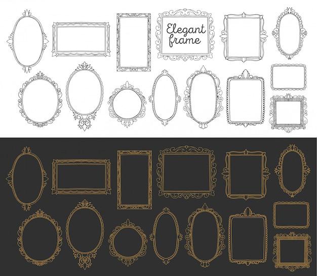 Sammlung frame hochzeitseinladung. romantische grenzweinlesehand gezeichnet, dekoratives elegantes element.