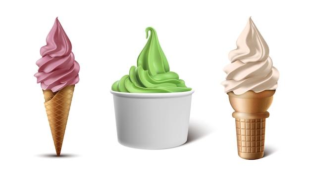 Sammlung gefrorener joghurt im waffelkegel, in der schale oder in der papierschüssel