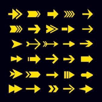 Sammlung gelber pfeile des flachen designs