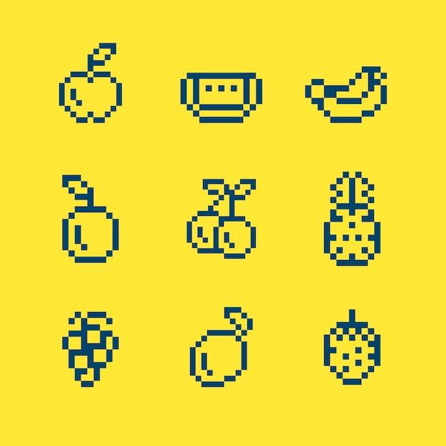 Sammlung gemischte pixelated früchte