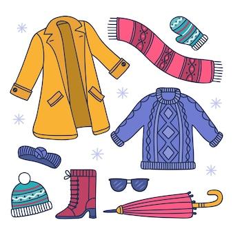 Sammlung gemütlicher winterkleidung
