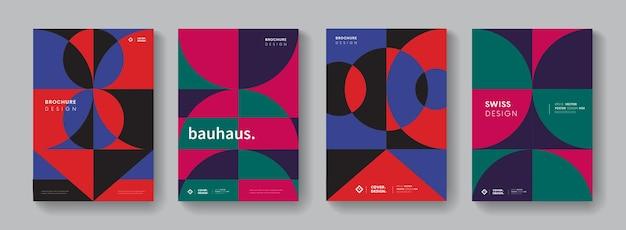 Sammlung geometrischer abdeckungen. abstraktes bauhaus-muster. zusammensetzung der retro-formen.