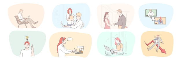 Sammlung geschäftsleute frauen manager freiberufler, die zusammenarbeiten, um online zu sprechen.