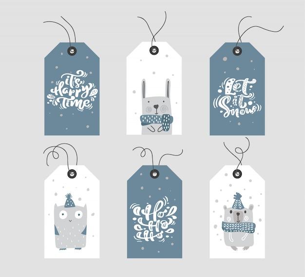 Sammlung geschenkmarken oder -aufkleber der frohen weihnachten mit handgeschriebenem kalligraphiebeschriftungstext