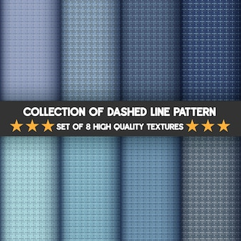 Sammlung gestrichelte linienmuster des blauen satzes.