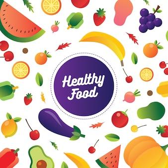 Sammlung gesunder früchte und lebensmittelillustration für sauberes essen der diät