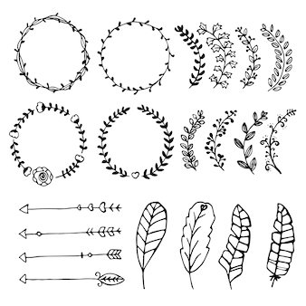 Sammlung gezeichnete designelemente des vektors hand