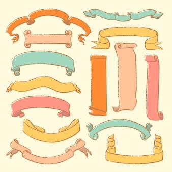 Sammlung gezeichnete rollen der weinlese hand