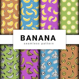 Sammlung gezeichnetes nahtloses muster der hand der bananenfrucht