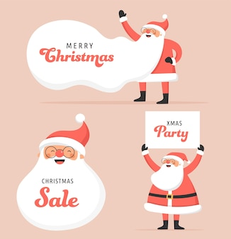 Sammlung glücklicher weihnachtsmänner, tanzen, springen, schild halten, roller fahren. s
