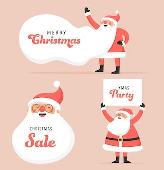 Sammlung glücklicher weihnachtsmänner, tanzen, springen, schild halten, roller fahren.