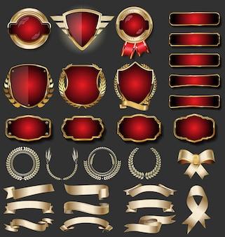 Sammlung goldene abzeichen und aufkleber der retro- weinlese