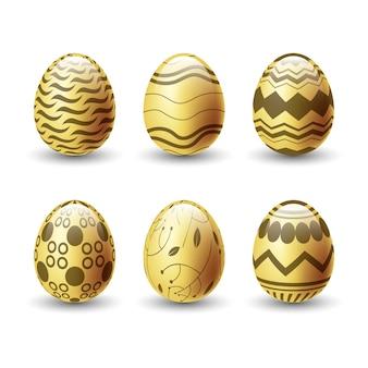Sammlung goldener eier am ostertag