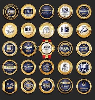 Sammlung goldener etiketten