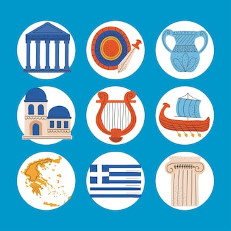 Sammlung griechenland-symbole