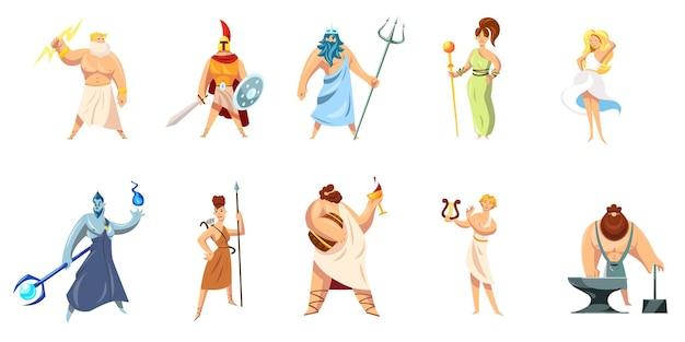 Sammlung griechischer mythologiezeichen. athene, hephaistos, ares, poseidon, zeus, dionysos, hephaistos, aphrodite, apollo.